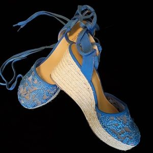 Covington blue lace up wedge espadrilles